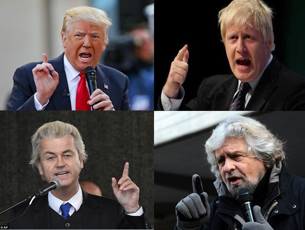 Four Hairmen of the Apocalypse: Trump, Johnson, Wilders, Grillo